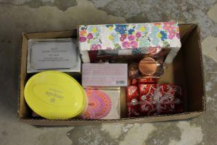 Various perfumes and cosmetics.