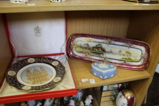 A boxed Spode commemorative plate and two other items.