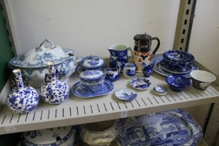 A pair of Minton blue and white Japanesque twin handled vases and various other blue and white and