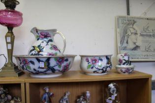 A Losol ware jug, bowl and wash set.