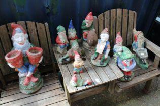 A quantity of garden gnomes.