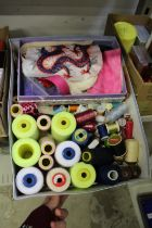 Colourful cotton thread and other textile items.