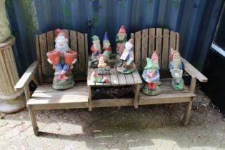 A garden bench seat / table.