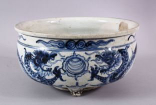 A CHINESE BLUE & WHITE PORCELAIN DRAGON TRIPOD POT / PLANTER, the body with a crackle glaze and