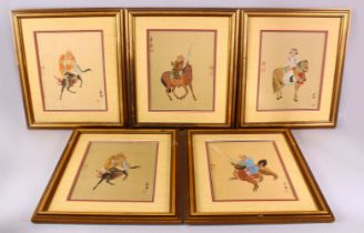 5 CHINESE PAINTED TEXTILE IMMORTAL FIGURES UPON ANIMALS, each framed painting depicting an