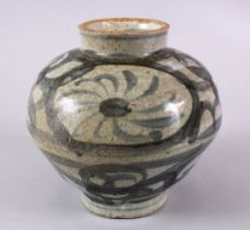 A CHINESE BLUE & WHITE PORCELAIN GINGER JAR, with stylized floral decoration, possibly ground rim,