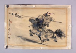 A CHINESE PAINTING ON PAPER - WARRIOR ON HORSEBACK, the painting depicting a warrior in battle