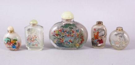 A MIXED LOT OF 5 CHINESE REVERSE PAINTED SNUFF BOTTLES, each with decoration of boys in