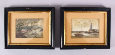 A PAIR OF 19TH CENTURY CHINESE NAUTICAL THEME PAINTING ON RICE PAPER, each depicting a ships in a
