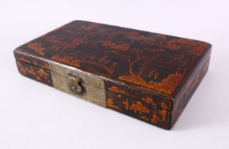 A GOOD CHINESE LACQUER LIDDED BOX - with raised decoration depicting native figural landscape