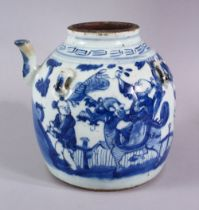 A CHINESE BLUE & WHITE PORCELAIN KETTLE / TEAPOT - decorated with scenes of boys in landscapes,