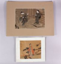 A CHINESE PAINTING ON TEXTILE OF TWO FEMALE FIGURES, depicting two figures in a garden setting,