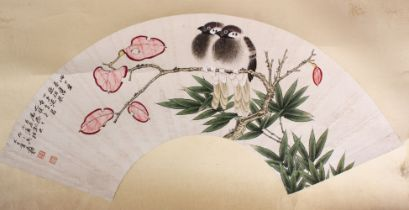 A CHINESE MOUNTED PAINTED PAPER FAN - TWO BIRDS, the fan panel stuck to card, depicting two seated
