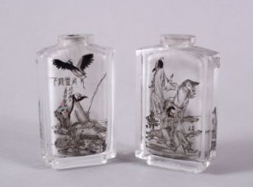 TWO CHINESE REVERSE PAINTED GLASS SNUFF BOTTLES, one depicting seated immortals and horses, with