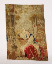 AN EARLY NEEDLEWORK FABRIC, lady seated beside an open window 2ft 2ins x 1ft 7ins.