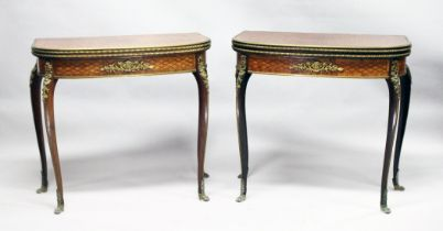 A SUPERB NEAR PAIR OF LINKE MODEL PARQUETRY CARD TABLES, with crossbanded folding tops, green