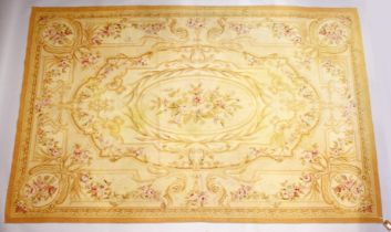 AN AUBUSSON TAPESTRY IN 18TH CENTURY STYLE, cream ground with floral sprays within classical panels.