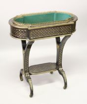 A VERY GOOD FRENCH 18TH /19TH CENTURY INLAID PLANTER, with brass grill, metal liner on curving end