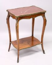 A SMALL 19TH CENTURY FRENCH, KINGWOOD, MARBLE TOP TWO TIER TABLE, with curving legs, ormolu mounts