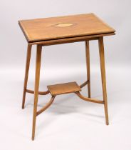 AN EDWARDIAN MAHOGANY FOLDING TOP TEA TABLE, on tapering legs with under tier. 1ft 9ins long.