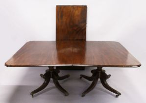A GOOD GEORGE IV PERIOD MAHOGANY TWIN PILLAR DINING TABLE, comprising a pair of tilt top ends with