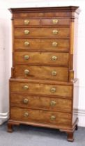 A GOOD LARGE GEORGE III MAHOGANY TALLBOY, the top with detailed cornice, two short and four long