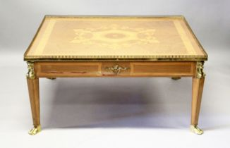 A LOUIS XVITH SQUARE TOP COFFEE TABLE, with inlaid topand brass grill on Egyptian brass legs with