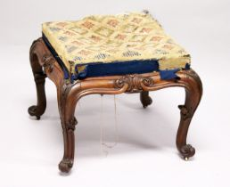A GOOD VICTORIAN UPHOLSTERED STOOL, with well carved rosewood frame on cabriole legs. 1ft 11ins wide