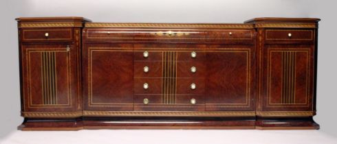 A SUPERB WALNUT INLAID SIDEBOARD AND SIDE PIECES BY DAVID LINLEY, fitted with a drawer and panel