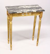 A SMALL GILDED SIDE TABLE, with marble top porcelain panels on turned tapering legs. 2ft long