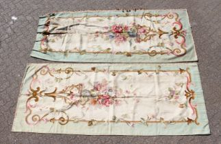 A SUPERB PAIR OF AUBUSSON FABRIC WALL HANGINGS. 8ft x 3ft 10ins.