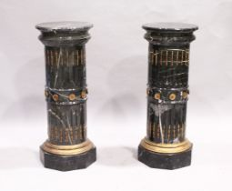 A SUPERB PAIR OF LOUIS XVTH DESIGN MARBLE, CIRCULAR FLUTED PEDESTALS with circular tops and