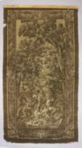 TWO LATE 19TH/EARLY 20TH CENTURY BELGIUM TAPESTRY WALL HANGINGS, one depicting cherubs in a wooded