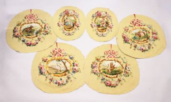A SET OF FOUR LARGE FABRICS with animal, flowers and ribbons, 2ft 4ins x 2ft 6ins and a pair of