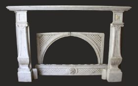 A GOOD CARVED MARBLE FIREPLACE, with broad mantle supported on a pair of classical columns, a carved