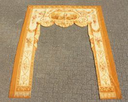 A SUPERB PAIR OF AUBUSSON ARCHWAY FABRICS. 9ft 6ins long x 8ft 2ins wide.