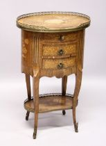 A GOOD 19TH CENTURY FRENCH OVAL THREE DRAWER COMMODE, with brass grill and marquetry inlay on curing