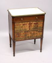 A GOOD 19TH CENTURY FRENCH RECTANGULAR TOP WITH MARBLE COMMODE, with a single drawer over book