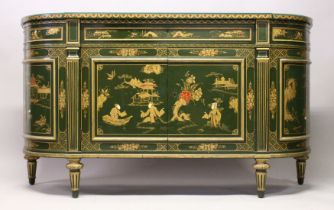 A GOOD CHINOISERIE INLAID CABINET with bowed ends, panel doors with long drawer to the front over