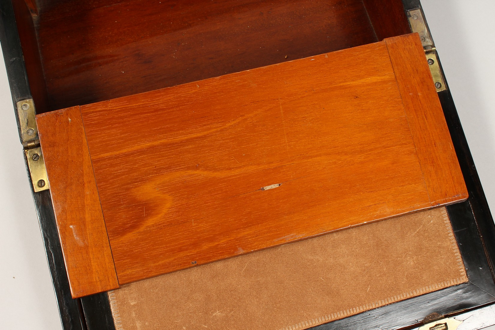 A VICTORIAN WALNUT FOLDING TABLE DESK with green velvet writing panel. 14ins long. - Image 8 of 8