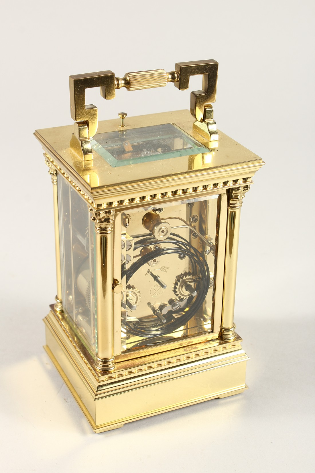 A GOOD ASPREYS BRASS CARRIAGE CLOCK with alarm. 6ins high. - Image 3 of 7