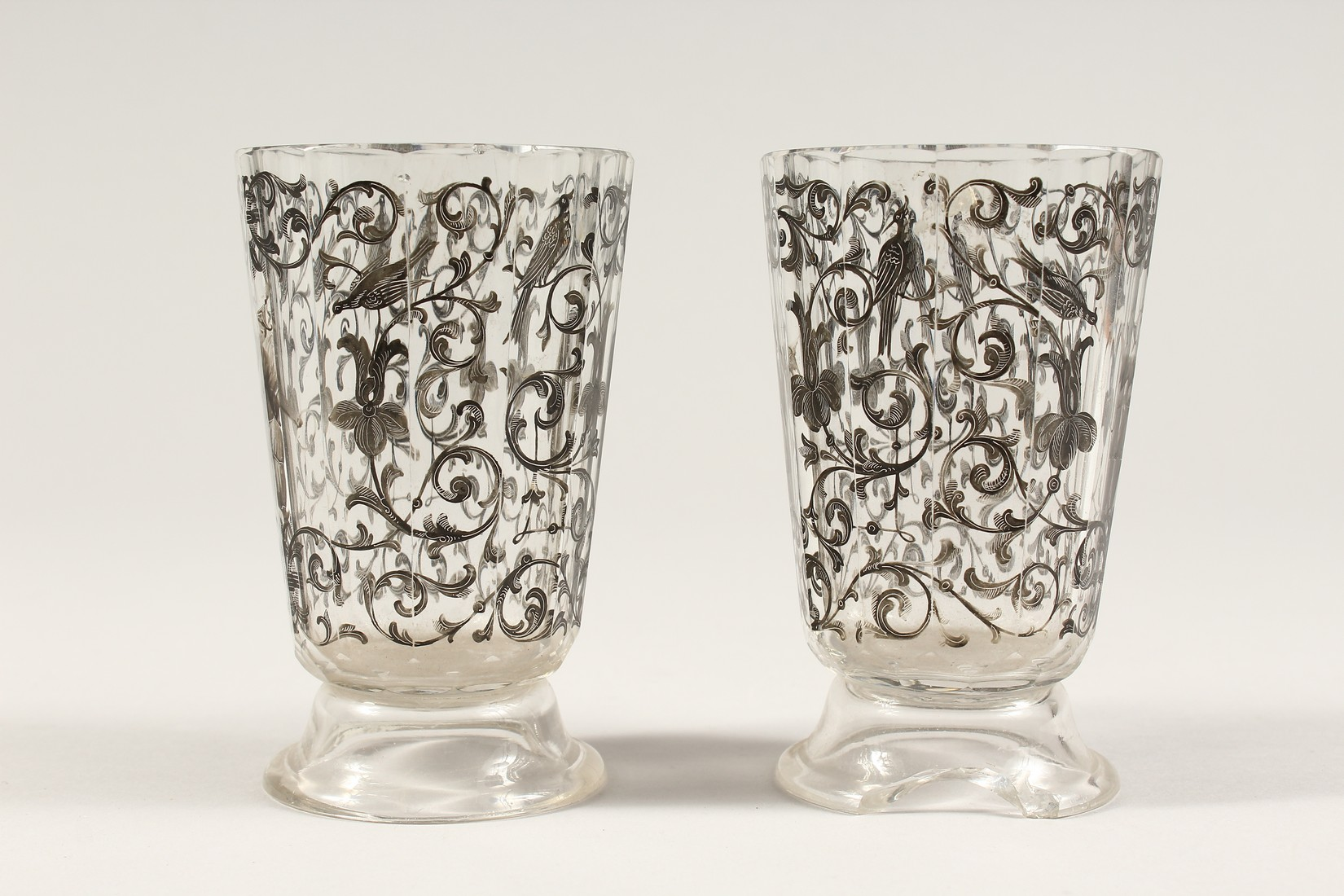 A GOOD PAIR OF BOHEMIAN GLASS TWELVE SIDED BEAKERS, painted with Turkish figures, scrolls and birch. - Image 2 of 5