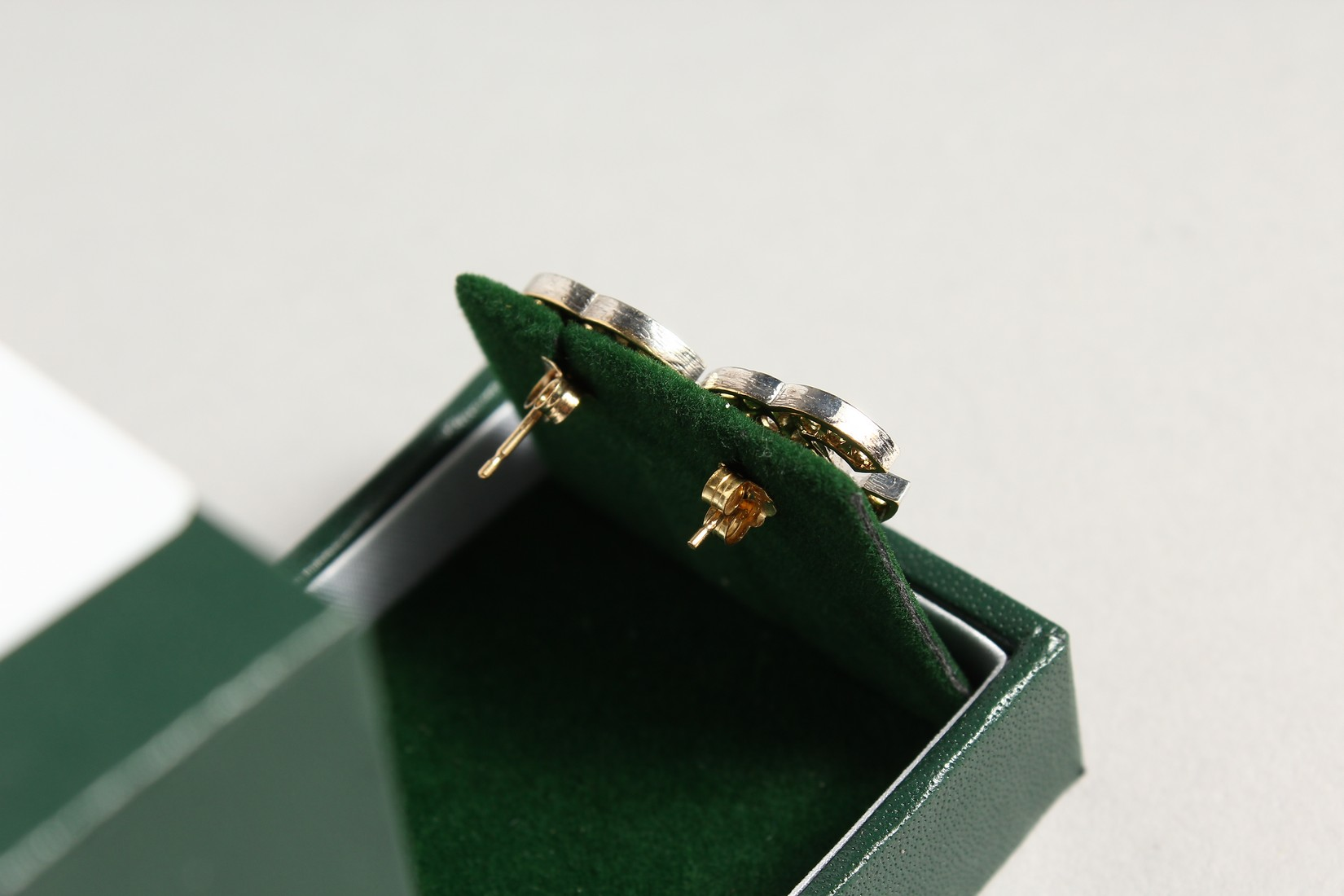 A PAIR OF 9CT GOLD CC ZIRCON SET EARRINGS. - Image 2 of 2