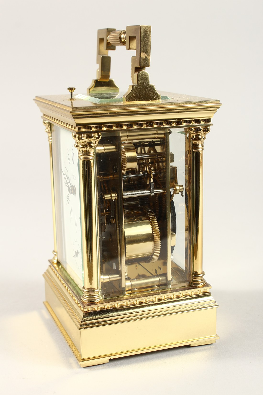 A GOOD ASPREYS BRASS CARRIAGE CLOCK with alarm. 6ins high. - Image 2 of 7