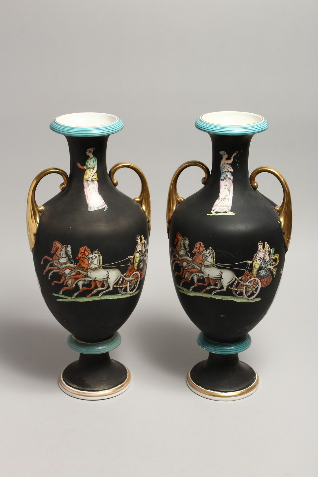 A PAIR OF CLASSICAL TWO HANDLED VASES with Greek figures 16ins high. - Image 6 of 7