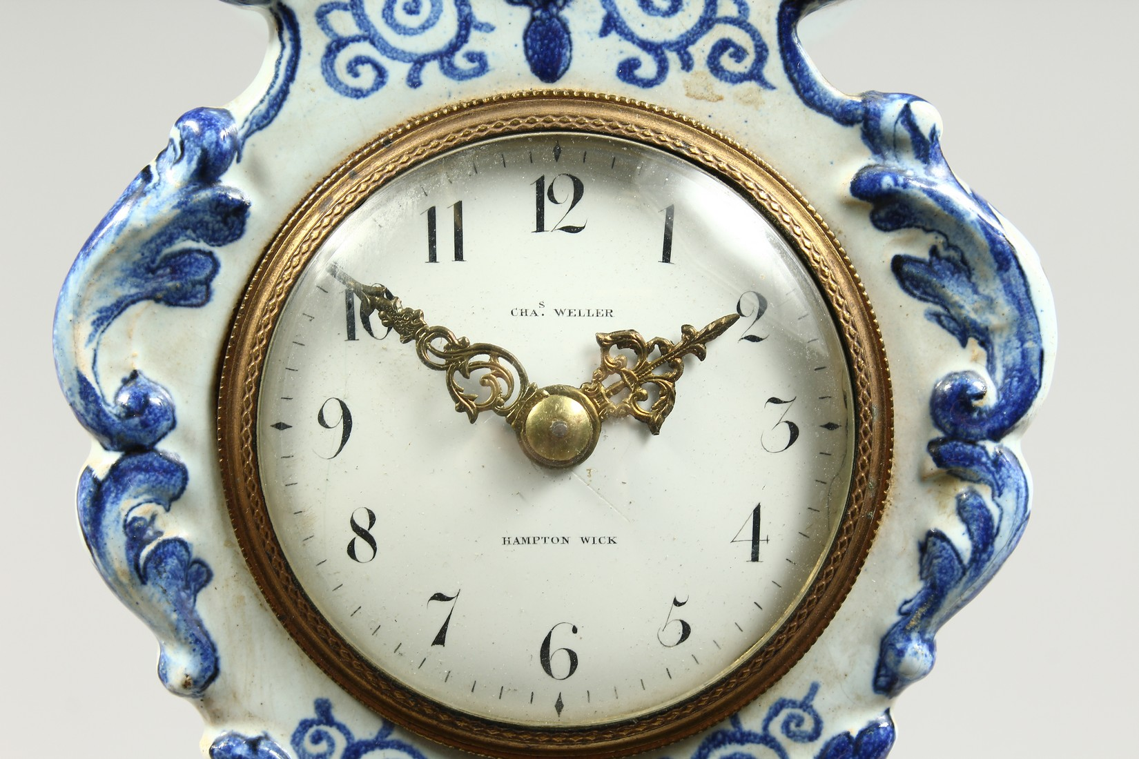 A 19TH CENTURY DUTCH BLUE AND WHITE MINIATURE PORCELAIN LONGCASE CLOCK, the movement by Charles - Image 2 of 8
