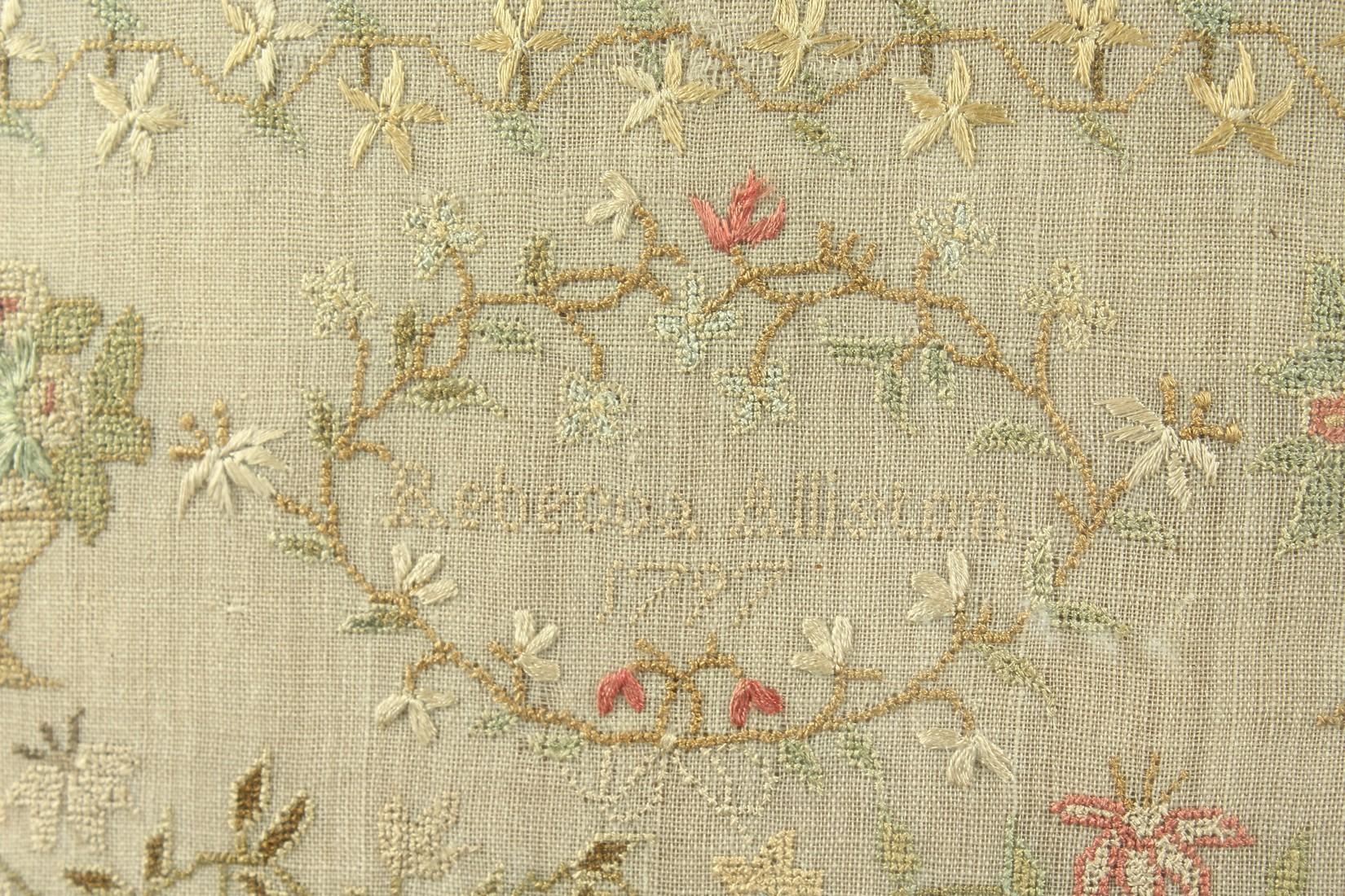 A GEORGE III FRAMED AND GLAZED SAMPLER by Roberta Allerton, 1787, with a poem, birds, flowers etc. - Image 5 of 7