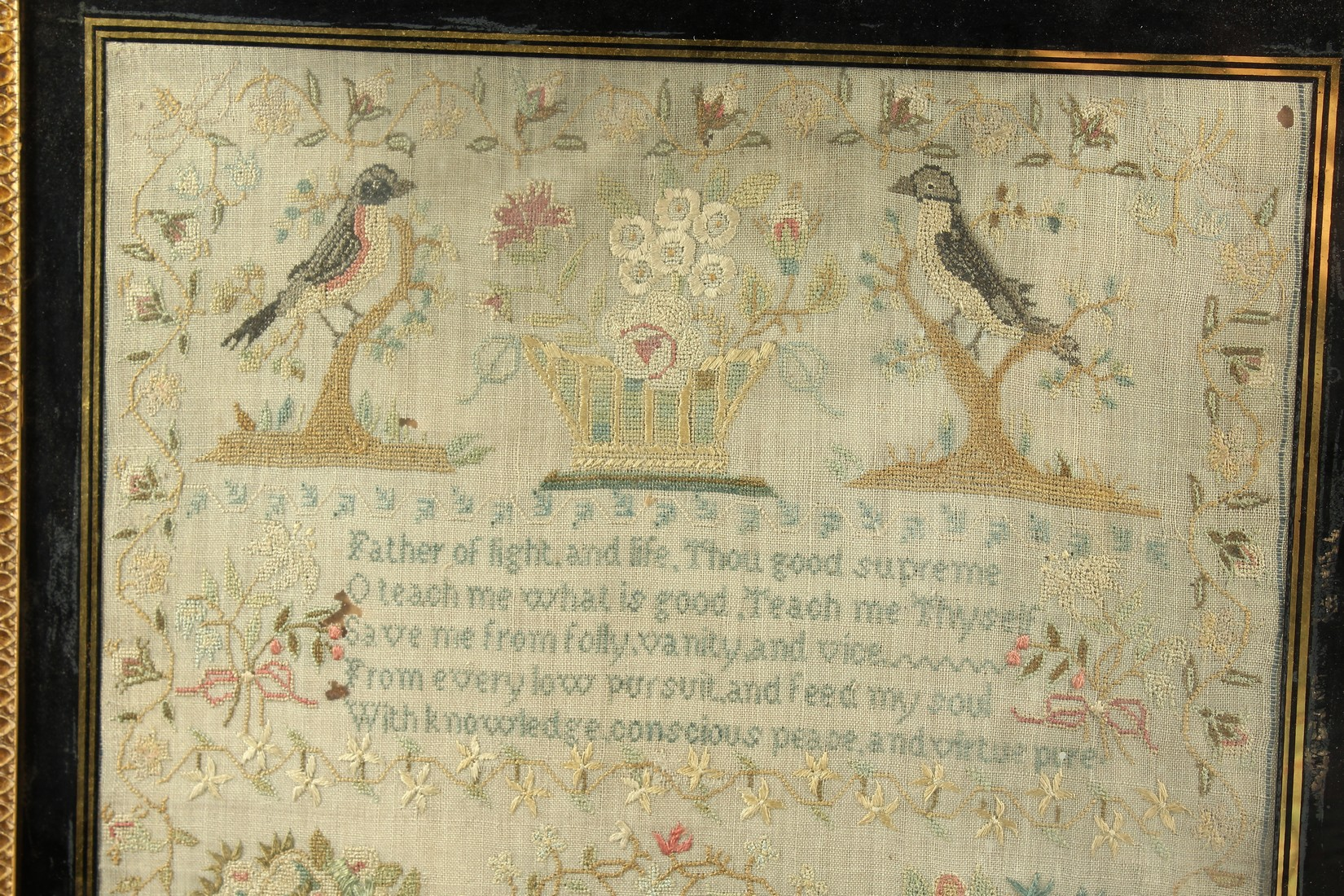 A GEORGE III FRAMED AND GLAZED SAMPLER by Roberta Allerton, 1787, with a poem, birds, flowers etc. - Image 2 of 7