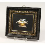 A SUPERB ITALIAN MICRO MOSAIC PLAQUE doves etc. drinking from a bowl 4.5ins x 5.75ins framed.