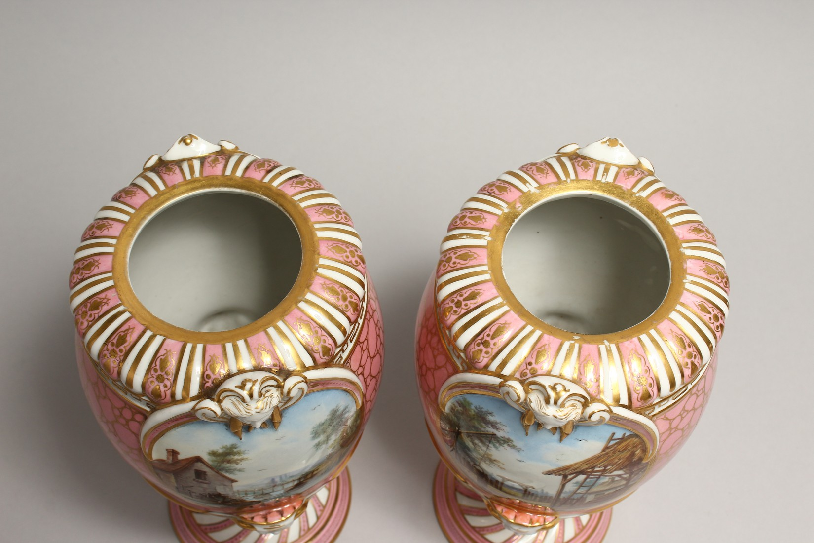 A VERY GOOD PAIR OF SEVRES PINK GROUND VASES AND COVERS each painted with reverse panels of figures, - Image 7 of 12